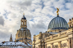 Church of our Lady and the Albertinum in Dresden Stock Photos