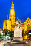 Church of Our Lady, Antwerp, Belgium. Antwerp. Church of Our Lady gothic cathedral and Peter Paul Rubens statue, seen from Groenplaats. Flanders, Belgium stock photos