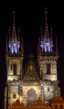Church of Our Lady in front of Old Square by night Royalty Free Stock Image