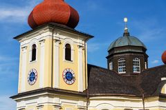 Church of Our Lady of Good Counsel in Dobra Voda, Czech Republic, sunny summer. Day royalty free stock image