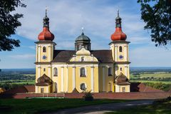 Church of Our Lady of Good Counsel in Dobra Voda, Czech Republic, sunny summer. Day stock photo