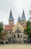 The Church of Our Lady in Halberstadt, Germany. The Church of Our Lady is 12th century Romanesque basilica with transept in Halberstadt, Germany stock photo