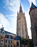 Church of Our Lady and houses in Bruges / Brugge, Belgium Stock Photography