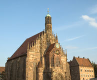 Church of Our Lady in Nuremberg Germany. This marvelous Church is in the middle of the main Market Square and is actively used for worship services Royalty Free Stock Photo