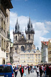 Church of our Lady  in old town Square in sunny day in Prague, Czech Republic Stock Images