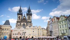 Church of our Lady  in old town Square in sunny day in Prague, Czech Republic Stock Photography