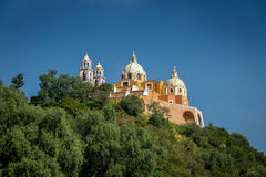 Church of Our Lady of Remedies at the top of Cholula pyramid - Cholula, Puebla, Mexico Royalty Free Stock Photography