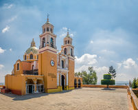 Church of Our Lady of Remedies at the top of Cholula pyramid - Cholula, Puebla, Mexico Royalty Free Stock Images