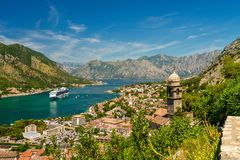 Church of Our Lady of Remedy. View of Kotor city and Church of Our Lady of Remedy from the road to Kotor fortress. Montenegro Stock Photos