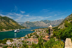 Church of Our Lady of Remedy. View of Kotor city and Church of Our Lady of Remedy from the road to Kotor fortress. Montenegro Stock Images