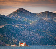 Church Our Lady of the Rocks. Gospa od Skrpjela. Church Our Lady of the Rocks. Island in bay of Kotor. Perast, Montenegro Royalty Free Stock Images