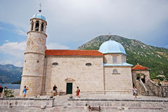 Church Our Lady of the Rocks,Montenegro. stock images