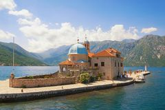 Church of Our Lady of the Rocks on small island in Bay of Kotor , Montenegro Stock Image