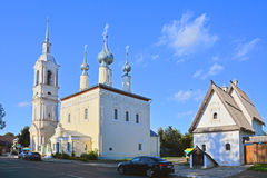 Church of Our Lady of Smolensk and house of the deputy in Suzdal, Russia. Church of Our Lady of Smolensk of 18th century and house of the deputy at river Kamenka Royalty Free Stock Image
