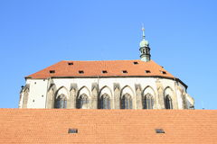 Church of Our Lady of the Snows. Behind roof in Prague (Czech Republic Stock Image