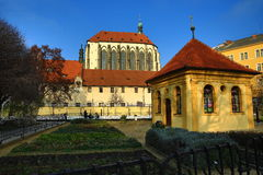 The church of Our Lady of the Snows (Czech: Panny Marie Sněžné) is located near Jungmann Square in Prague, Czech Republic. A picture of the church of Our Lady Royalty Free Stock Photo