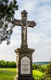 Church of Our Lady of the Snows on Tekije. Petrovaradin, Serbia - April 28, 2019:Crucifixion of Christ in the yard of the Church of Our Lady of the Snows on royalty free stock photography