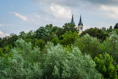 Church of Our Lady of the Snows on Tekije. Petrovaradin, Serbia - April 28, 2019:Dome of the Church of Our Lady of the Snows on Tekije royalty free stock images