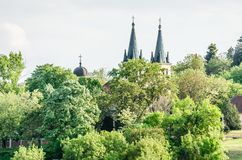 Church of Our Lady of the Snows on Tekije. Petrovaradin, Serbia - April 28, 2019: Dome of the Church of Our Lady of the Snows on Tekije royalty free stock image