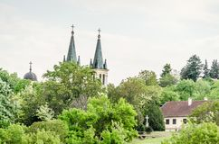 Church of Our Lady of the Snows on Tekije. Petrovaradin, Serbia - April 28, 2019: Dome of the Church of Our Lady of the Snows on Tekije stock photos