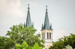 Church of Our Lady of the Snows on Tekije. Petrovaradin, Serbia - April 28, 2019: Dome of the Church of Our Lady of the Snows on Tekije stock photography