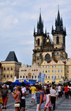 Church Of Our Lady Before Tyn. PRAGUE, CZECH REPUBLIC - JUNE 30: People at the square in front Church Of Our Lady Before Tyn, June 30, 2010 in Prague, Czech stock photo