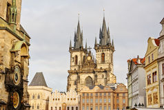 Church of our Lady Tyn and astronomical clock in old town square Stock Photos