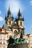 Church of Our Lady before Tyn and Jan Hus Statue Royalty Free Stock Photo