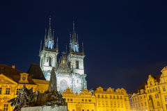 Church of Our Lady Tyn and Jan Hus statue from Old Town Square Staromestska Prague at night. Royalty Free Stock Photos