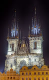Church of Our Lady Before Tyn at night, Prague, Czech Republic Royalty Free Stock Photo