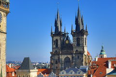 Church of Our Lady before Tyn, Old Towen Hall, The Astronomical Clock on Old Towen Square, Prague, Czech Republic Stock Images