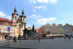 Church of Our Lady before Tyn, Old Town Square and Jan Hus Memorial in Prague Stock Photo
