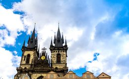 Church of our lady before tyn at Prague. On blue summer sky background, Czech Republic Stock Photos