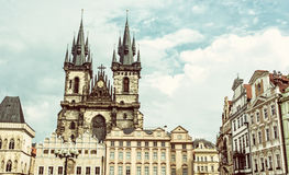 Church of Our Lady before Tyn in Prague, Czech republic, old fil Royalty Free Stock Photo