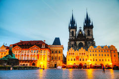 Church of Our Lady before Tyn in Prague at sunrise Royalty Free Stock Photo