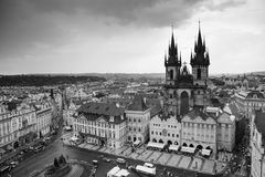 Tyn Church and the square of Prague city center. Church of the Our Lady before Tyn, and the square of Prague city center Royalty Free Stock Images