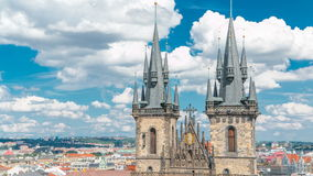 Church of our lady before Tyn timelapse in Prague, Czech republic. Gothic church in Prague Old town with beautiful. Cloudy sky. Top view from Old Town Hall stock video footage