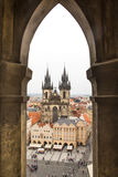 Church of Our Lady Before Tyn from a tower. The famous Church of Our Lady Before Tyn from a tower in Prague Stock Image