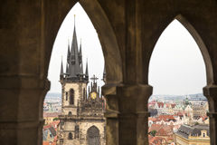 Church of Our Lady Before Tyn from a tower. The famous Church of Our Lady Before Tyn from a tower in Prague Stock Photo