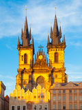 Church of Our Lady before Tyn. View from Old Town Square, Prague, Czech Republic Royalty Free Stock Images