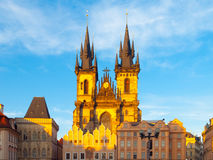 Church of Our Lady before Tyn. View from Old Town Square, Prague, Czech Republic Royalty Free Stock Image