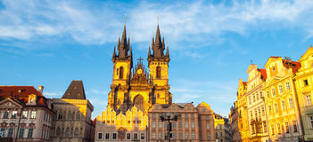 Church of Our Lady before Tyn. View from Old Town Square, Prague, Czech Republic. Panoramic shot Royalty Free Stock Images