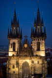 Church of Our Lady before Tyn in winter evening, Prague royalty free stock photography