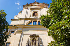Church of Our Lady Victorious in Mala Strana. The facade of the Church of Our Lady Victorious (Kostel Panny Marie Vitezne) in Mala Strana Stock Image