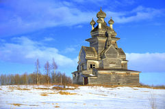 Church of Our Lady of Vladimir. Vladimir p. (1757g.) built on a high (22 meters) left bank. Onega, on Mount Zherebtsova, 16 km from the town of Onega Stock Photography