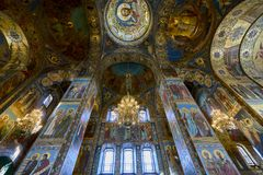 Church of Our Savior on Spilled Blood. In side of Church of Our Savior on Spilled Blood, Saint Petersburg, Russia Stock Photos