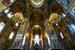 Church of Our Savior on Spilled Blood. In side of Church of Our Savior on Spilled Blood, Saint Petersburg, Russia Royalty Free Stock Photo