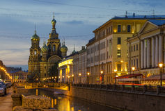 Church of Our Savior on Spilled Blood. St. Petersburg, Russia at night Stock Photo
