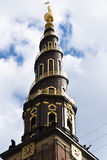 The Church of Our Saviour, Copenhagen, Denmark. The bell tower of the Church of Our Saviour (Vor Frelser Kirke). In the Christianshavn city district, Copenhagen stock images