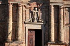 The church. Outside the church with statues in Piedmont Italy Stock Photos